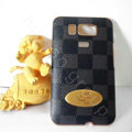 LV classic plaid leather Case Hard Back Cover for HTC Touch HD2 - Black
