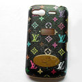 LV leather Case Hard Back Cover for HTC Desire S G12 S510e - Black