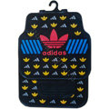 Adidas Logo Universal Automobile Carpet Car Floor Mats Set Rubber 5pcs Sets - Black