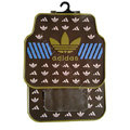 Adidas Logo Universal Automobile Carpet Car Floor Mats Set Rubber 5pcs Sets - Coffee