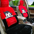 Astro boy Thicker Universal Auto Car Seat Covers Cushion Short plush Full Set - Red+Black