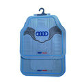 Audi Logo Universal Automobile Carpet Car Floor Mats Set Wavy Rubber+PVC 5pcs Sets - Blue