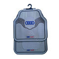 Audi Logo Universal Automobile Carpet Car Floor Mats Set Wavy Rubber+PVC 5pcs Sets - Gray
