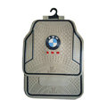 BMW Logo Universal Automobile Carpet Car Floor Mats Set Rubber 5pcs Sets - Beige Black