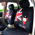 Cartoon Genuine MR ALI Universal Auto Car Seat Covers Velvet Full Set 10pcs - Black