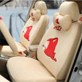 Cartoon Genuine MR ALI Universal Auto Car Seat Covers Velvet Full Set 18pcs - Beige