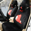 Cartoon Genuine MR ALI Universal Auto Car Seat Covers Velvet Full Set 18pcs - Black