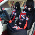Cartoon Genuine MR ALI Universal Auto Car Seat Covers Velvet Full Set 22pcs - Black