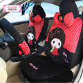 Fashion Baby Thumb Dot Universal Auto Car Seat Covers Velvet Full Set 18pcs - Red Black