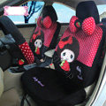 Fashion Baby Thumb Dot Universal Auto Car Seat Covers Velvet Full Set 18pcs - Rose Black