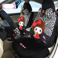 Fashion Baby Thumb Leopard Universal Auto Car Seat Covers Velvet Full Set 18pcs - Black White