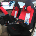 Fashion Embem bear Universal Auto Car Seat Covers Velvet Full Set 18pcs - Black Red