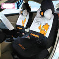 Fashion Garfield Universal Auto Car Seat Covers Velvet Full Set 18pcs - Black Gray