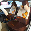 Fashion Garfield Universal Auto Car Seat Covers Velvet Full Set 18pcs - Coffee