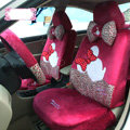 Fashion Minnie Mouse Leopard Universal Auto Car Seat Covers Velvet Full Set 18pcs - Rose