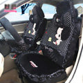 Fashion ddung Dot Lace Universal Auto Car Seat Covers Plush Velvet Full Set 18pcs - Black