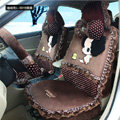 Fashion ddung Dot Lace Universal Auto Car Seat Covers Plush Velvet Full Set 18pcs - Coffee
