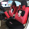 Fashion ddung Dot Universal Auto Car Seat Covers Velvet Full Set 18pcs - Black Red