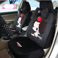 Fashion ddung Dot Universal Auto Car Seat Covers Velvet Full Set 18pcs - Black