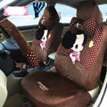 Fashion ddung Dot Universal Auto Car Seat Covers Velvet Full Set 18pcs - Coffee