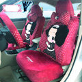 Fashion ddung Dot Universal Auto Car Seat Covers Velvet Full Set 18pcs - Rose