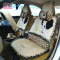 Fashion ddung Leopard Lace Universal Auto Car Seat Covers Plush Velvet Full Set 18pcs - Beige
