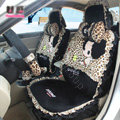 Fashion ddung Leopard Lace Universal Auto Car Seat Covers Velvet Plush Full Set 18pcs - Black