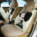 Fashion ddung Universal Auto Car Seat Covers Plush Velvet Full Set 18pcs - Beige