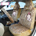 Fashion monkey mexi Leopard Universal Auto Car Seat Covers Velvet Full Set 18pcs - Yellow
