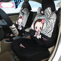 Fashion monkey mexi Zebra Universal Auto Car Seat Covers Velvet Full Set 18pcs - Black