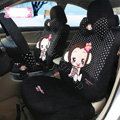 Fashion monkey mexi dot Universal Auto Car Seat Covers Velvet Full Set 18pcs - Black