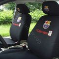 Futbol Club Barcelona Universal Auto Car Seat Cover Cotton Full Set 10pcs - Black