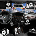 Genuine Mickey Mouse Car Use Interior Decoration Auto Inner Cotton Full Set 6pcs - Black