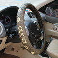 Gucci Auto Car Steering Wheel Cover Rubber Diameter 15 inch 38CM - Coffee