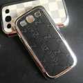 Gucci leather Cases Gold plated Hard Back Covers for Samsung Galaxy SIII S3 I9300 - Black