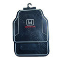 Honda Logo Universal Automobile Carpet Car Floor Mats Set Rubber+PVC 5pcs Sets - Black