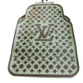 LV Floral Universal Automobile Carpet Car Floor Mats Set Rubber 5pcs Sets - Brown