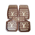 LV Universal Automobile Carpet Car Floor Mats Set Rubber Louis Vuitton 5pcs Sets - Coffee