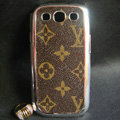 LV leather Cases Gold plated Hard Back Covers for Samsung Galaxy SIII S3 I9300 - Brown