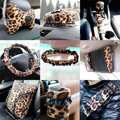 Leopard lace Car Use Interior Decoration Auto Inner Short plush Full Set 13pcs - Brown