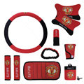 Manchester United Car Use Interior Decoration Auto Inner Artificial Plush Full Set 10pcs - Red