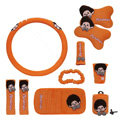 Monchhichi Car Use Interior Decoration Auto Inner Plush Full Set 10pcs - Orange