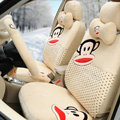 Paul Frank Dot Universal Auto Car Seat Covers Velvet Full Set 18pcs - Beige