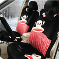 Paul Frank Dot Universal Auto Car Seat Covers Velvet Full Set 18pcs - Black+Red