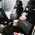 Paul Frank Dot Universal Auto Car Seat Covers Velvet Full Set 18pcs - Black