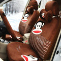 Paul Frank Dot Universal Auto Car Seat Covers Velvet Full Set 18pcs - Coffee