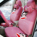 Paul Frank Dot Universal Auto Car Seat Covers Velvet Full Set 18pcs - Pink