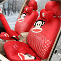 Paul Frank Dot Universal Auto Car Seat Covers Velvet Full Set 18pcs - Red