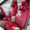 Paul Frank Dot Universal Auto Car Seat Covers Velvet Full Set 18pcs - Rose