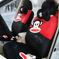 Paul Frank Universal Auto Car Seat Covers Velvet Full Set 18pcs - Black+Red